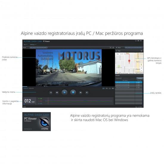 ALPINE DVR-F800PRO - Pažangus vaizdo registratorius - vairuotojo asistentas